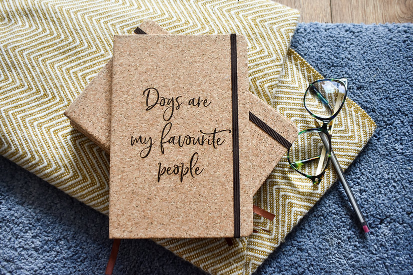 'Dogs are my Favourite People' Cork Notebook