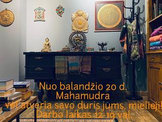 """Balandžio 20 dieną, """"Mahamudra"""" vėl atveria savo duris Jums, mielieji! Darbo laikas 12-19 val."""