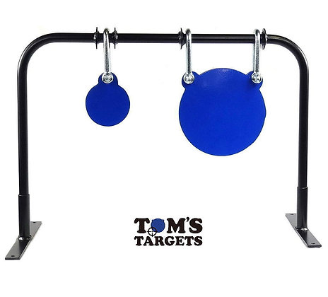 Double Gong Set Hanging Target With Stand Toms Targets Hardox 500 Target