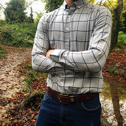 Brushed Grey Country Shirt Mens Check