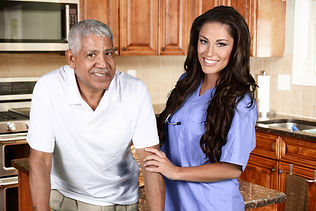 Home health care worker and an elderly m