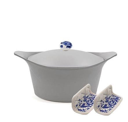 Cookut - L'Incroyable Cocotte - Grise - Poignée Fleurs Bleues - Maniques