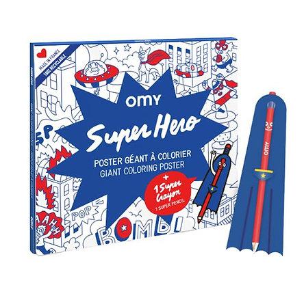 OMY - Poster géant à colorier - Super Héros