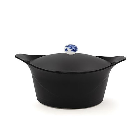Cookut - L'Incroyable Cocotte - Noire - Poignée Fleurs Bleues