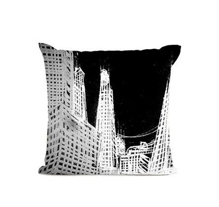 Artpilo – Coussin d'artiste - Papa mesk « Complex city by night »