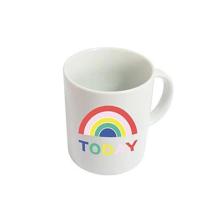 "Mug ""Today"" - Blanc et Arc en Ciel"