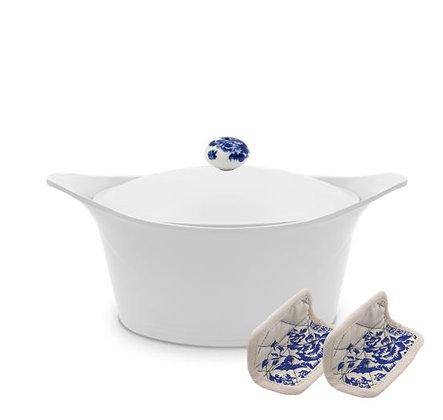 Cookut - L'Incroyable Cocotte - Blanche - Poignée Fleurs Bleues - Maniques