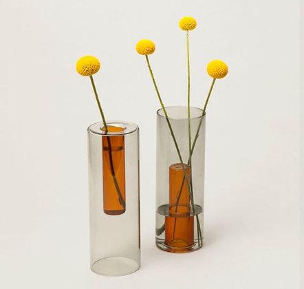 Vase reversible - Grand modèle - Gris et ambre