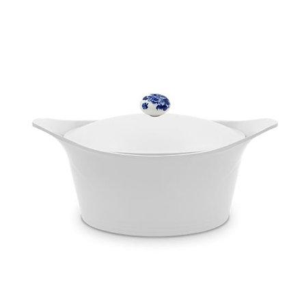Cookut - L'Incroyable Cocotte - Blanche - Poignée Fleurs Bleues