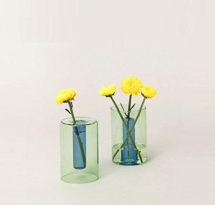 Vase réversible - Petit modèle - Bleu et Vert