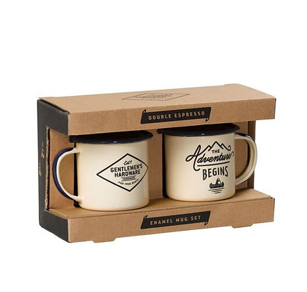 Gentlemen's Hardware - Set tasses emaillées - Cream