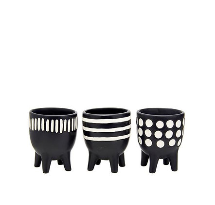 Sass & Belle - Lot de 3 Caches-pot - Black and White