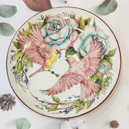 花鳥10吋釉下瓷盤創作