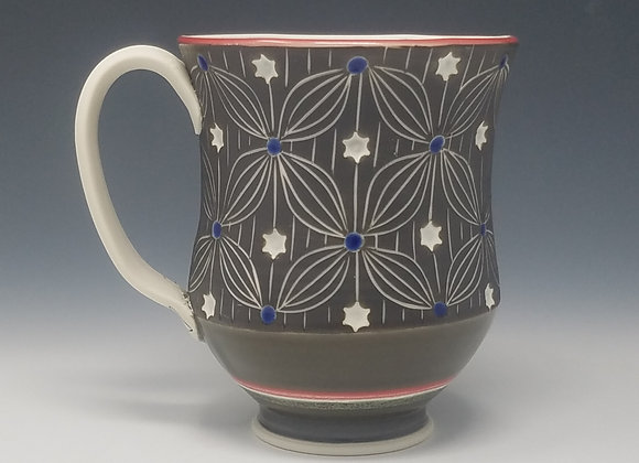 Stars and Stripes Mug with Red interior Glaze