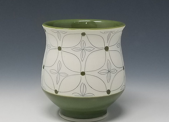 Green Flower Tea Cup