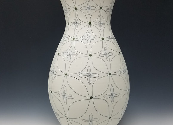 Vase with Green Flower Pattern