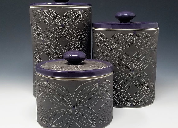 Purple Flower Canisters (select size/set)