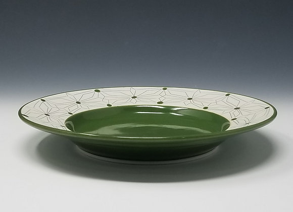 "8"" Desert/ Salad Plate Gothic Pattern and Green Glaze"