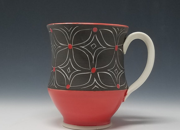 Mug with Flower Pattern and Red Glaze