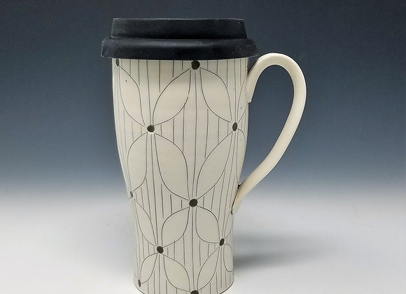 Flower with Lines Travel Mug