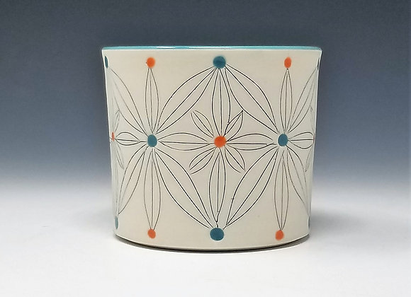 Teal and Orange Flower Whiskey Cup