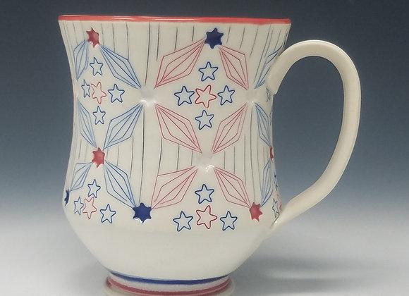 Stars and Stripes Mug with White interior Glaze