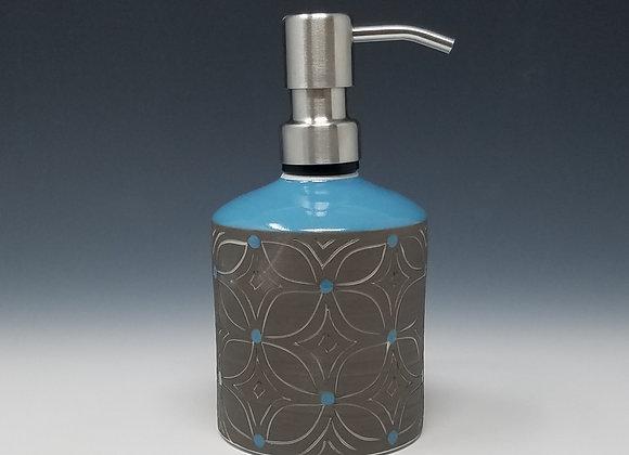 Blue Flower Soap/Lotion Bottle Dispenser