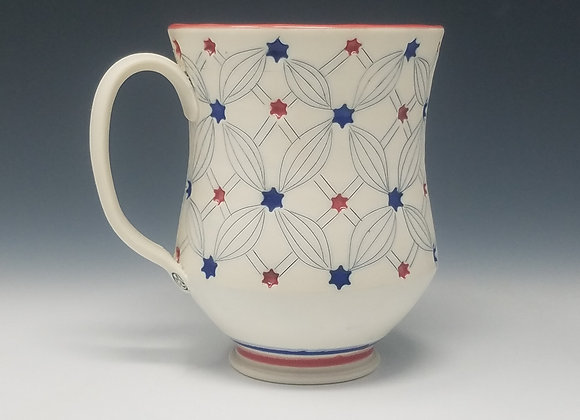 Red White and Blue Mug with White interior Glaze