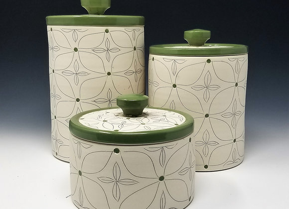 Green Flower Canisters (select size/set)