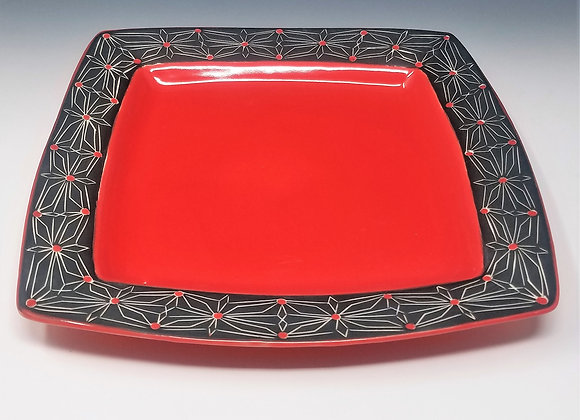 """10"""" Red Square Plate"""