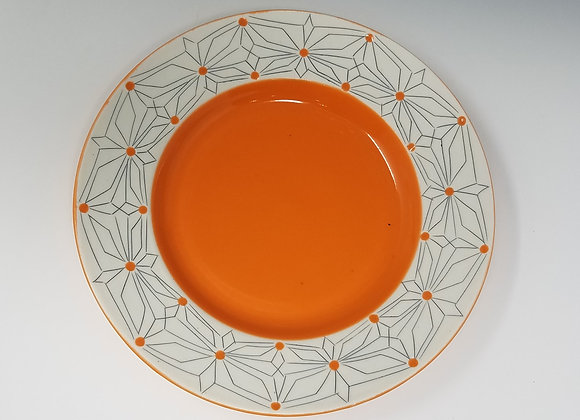 Desert/ Salad Plate Gothic Pattern and Orange Glaze