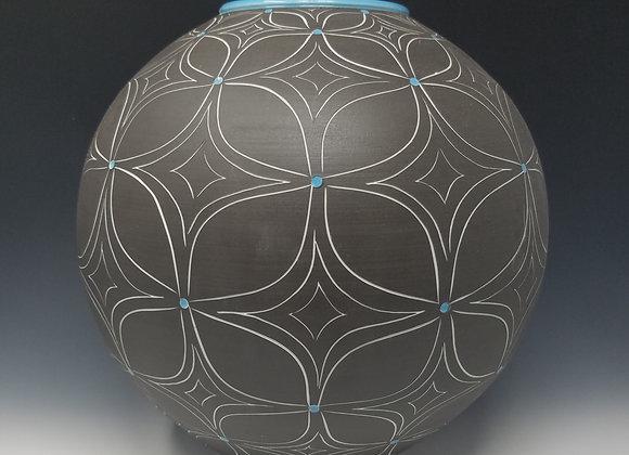 Medium Round Vase with Blue Flower Pattern
