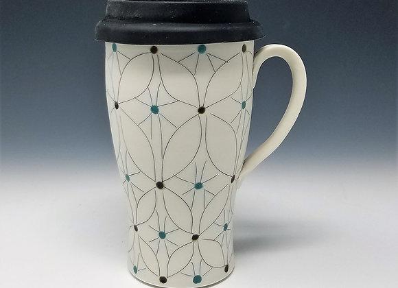 Overlapping Flower Travel Mug