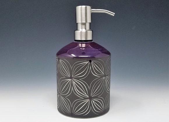 Purple Flower Soap/Lotion Bottle Dispenser