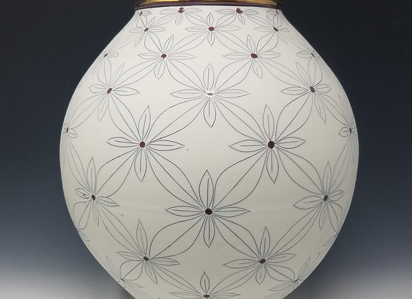 Medium Round Vase with Quad Flower Pattern