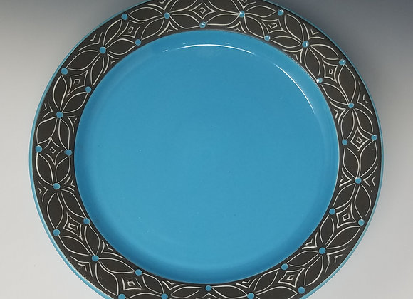 """10"""" Dinner plate with Blue Flower Pattern"""