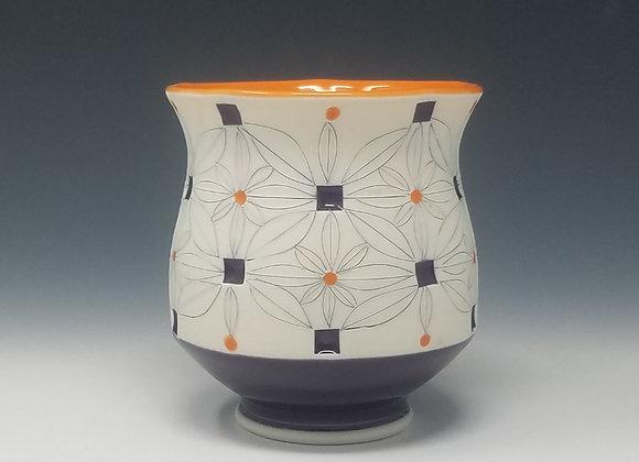 Tea Cup With Orange and Purple Glaze