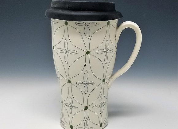 Green Flower Travel Mug