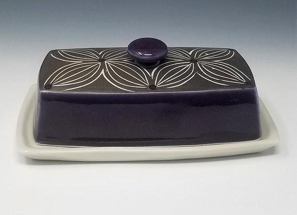 Purple Flower Butter Dish