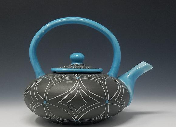 Round Blue Flower Teapot