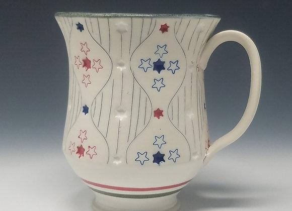 Stars and Stripes Mug with Red interior Glaze