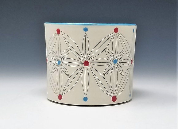 Blue and Red Flower Whiskey Cup