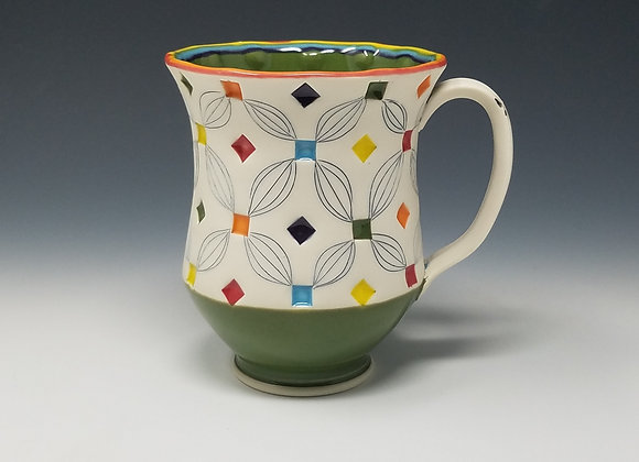 Rainbow Mug with Green interior Glaze