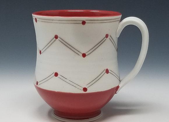 Mug with Chevron Pattern and Red Glaze