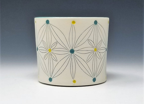 Teal and Yellow Flower Whiskey Cup
