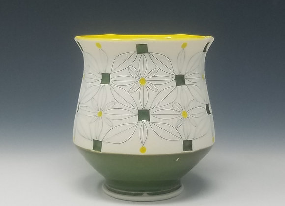 Tea Cup With Yellow and Green Glaze