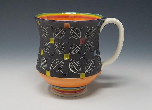 Rainbow Mug with Orange interior Glaze