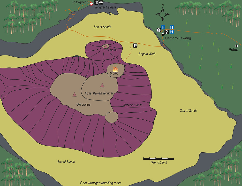 Bromo volcano geological map