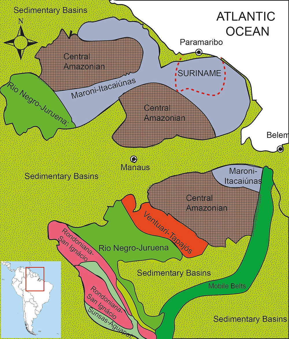 Simplified map of Archean domains in NW South America (after Geraldes et al 2015, modified)