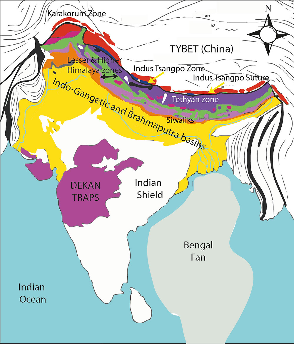 Simplified geological map of India and Himalayas. Adopted from Dhital, 2015.